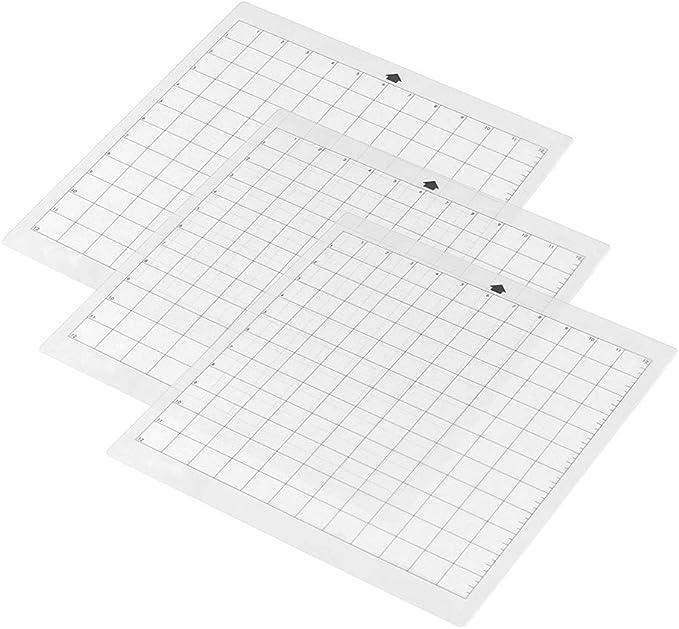 Aibecy- Alfombrilla de corte de repuesto para máquina de plotter de corte estándar de 12 pulgadas por 12 pulgadas con rejilla de medición para silhouette Cameo 12in * 12in 3 pcs: Amazon.es: