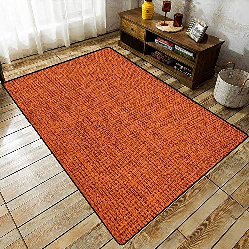 Large Area Rug,Orange,Faded Burlap Texture Image Background of Macro Thick Fabric Graphic Design Print,Extra Large RugBurnt Orange
