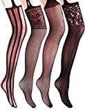 Vero Monte 4 Pairs Women's Fishnet Tights Suspender Thigh High Pantyhose (Black)