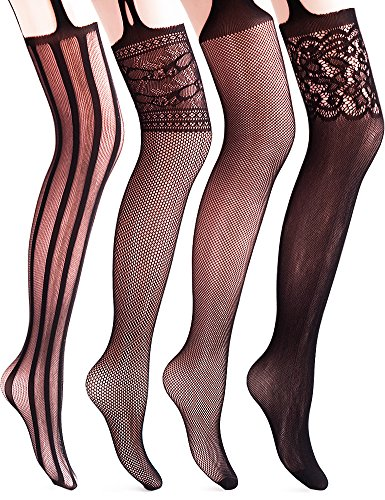 Vero Monte 4 Pairs Women's Fishnet Tights Suspender Thigh High Pantyhose (Black) (Thigh High Fishnets)