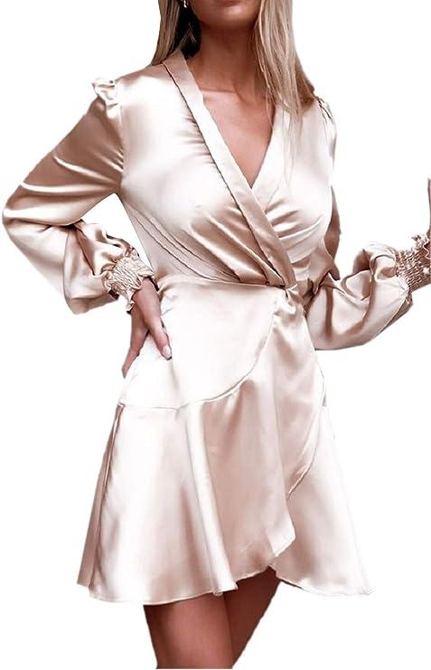 VERNASSA Mujer Elegante Satén Manga Larga Cuello en V Una línea Satén Vestido Ropa para Trabajar Vestidos Casuales Abrigo Camisa Blusa con cinturón: Amazon.es: Ropa y accesorios