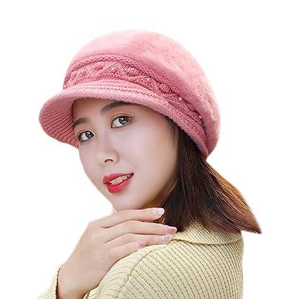 3939cf07420 Amazon.com  EnjoCho 2018 Elegant Women Knitted Hats Beanie Cap Autumn Winter  Berets Ladies Female Fashion Skullies Beret Hat (Pink-2)  Office Products