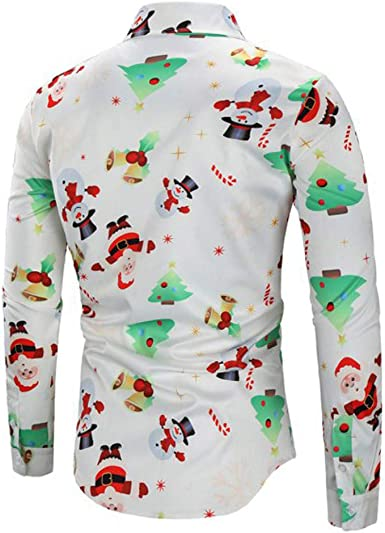 SoonerQuicker Camisas Hombre Manga Hombres Casual Copos de Nieve Papá Noel Estampado Camisa de Navidad Top Blusa - 2019 última Camisa Casual cómoda: Amazon.es: Ropa y accesorios