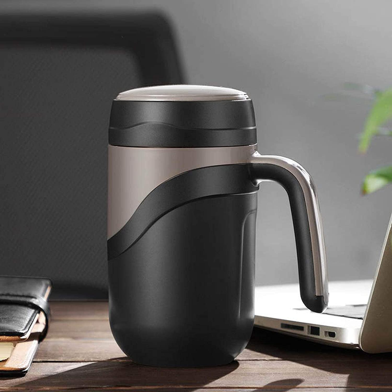 Taza térmica de cerámica interior al vacío, portátil, térmica, taza de café para vaso con aislamiento de agua, color negro