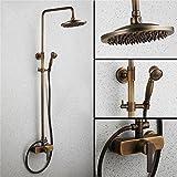 SMC Juego De Ducha Antique Vintage Copper European Style Bathroom Toilet Toilet Cooling & Hot Shower Shower Set con Cabezal de Ducha de Mano (Color : A)