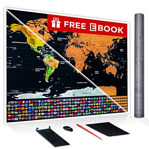 Scratch Off Map of the World Poster - Travel Map Poster - Large Wall Map Print - Color Detailed Scratch Off Map Poster - Travel Poster with Scratchable Countries - World Map Poster - 33.1 x 23.4 (A1)