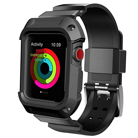 reputable site 65f46 94be3 Apple Watch Case Series 2, UMTELE Rugged Protective Case with Strap Bands  for Apple Watch Series 2 Sport Edition 42mm (Black)