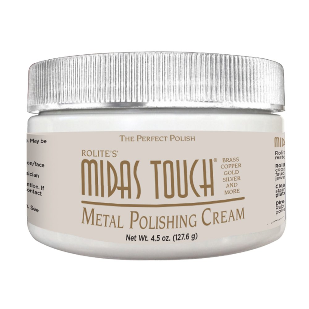 Rolite's Midas Touch Metal Polishing Cream 4.5oz with Jewelers Rouge for Gold, Brass, Copper, Bronze, Platinum, Pewter, Bronze, Sterling Silver, Aluminum, Chrome, Magnesium, Nickel & Stainless Steel