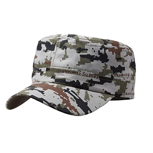 c1aa4df0ac6 Opromo Military Style Cotton Flat Top Peaked Cap Short Bill Camo Cadet Army  Cap-Gray Camouflage at Amazon Men s Clothing store