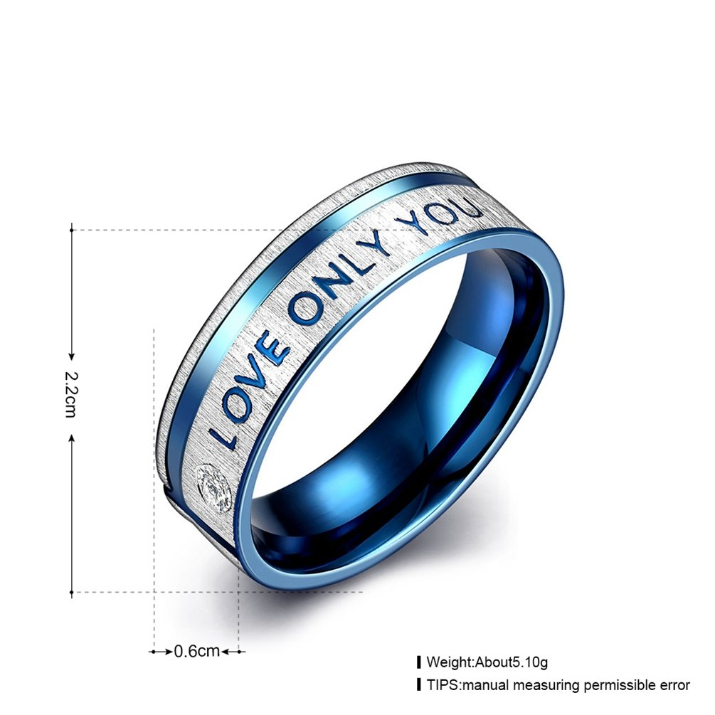 Mens Womens 6MM Wedding Bands Blue 316L Titanium Stainless Steel I Love Only You Promise Rings High Polished Finish Comfort Fit Size 7-10