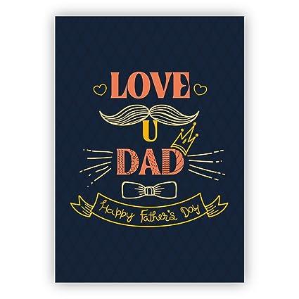 1 Hermosa tarjeta del día del padre retro: Love u Dad Happy ...