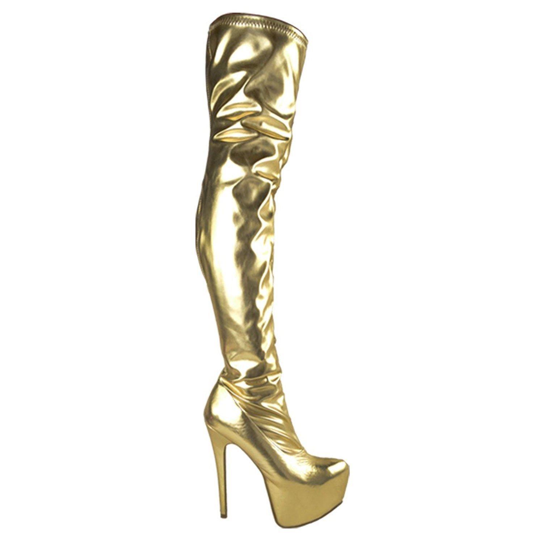 Bottes-cuissardes à talons aiguilles B07BHN6CB8 femme - imitation cuir suédé/extensible Lycra - femme Lycra Extensible Verni Or d89aa22 - jessicalock.space