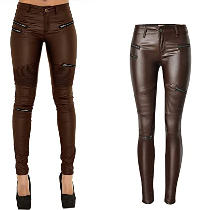 18a12e2141874 Lekhre Women's Plus Size Faux Leather Pants Middle Waist Zipper Motorcycle  Tights Sexy Stretchy Stitching Leggings