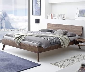 Amazon De Hasena Fine Line Bett Ancona Nussbaum Massiv 180x200