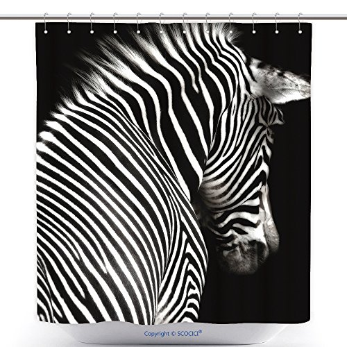 (vanfan-Durable Shower Curtains A Black White Zebra Image at an Interesting Angle Showing Head Shoulders The Zebra is Polyester Bathroom Shower Curtain Set Hooks(72 x 96)