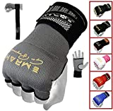 EMRAH PRO Training Boxing Inner Gloves Hand Wraps MMA Fist Protector Bandages Mitts - X (Grey, Medium)