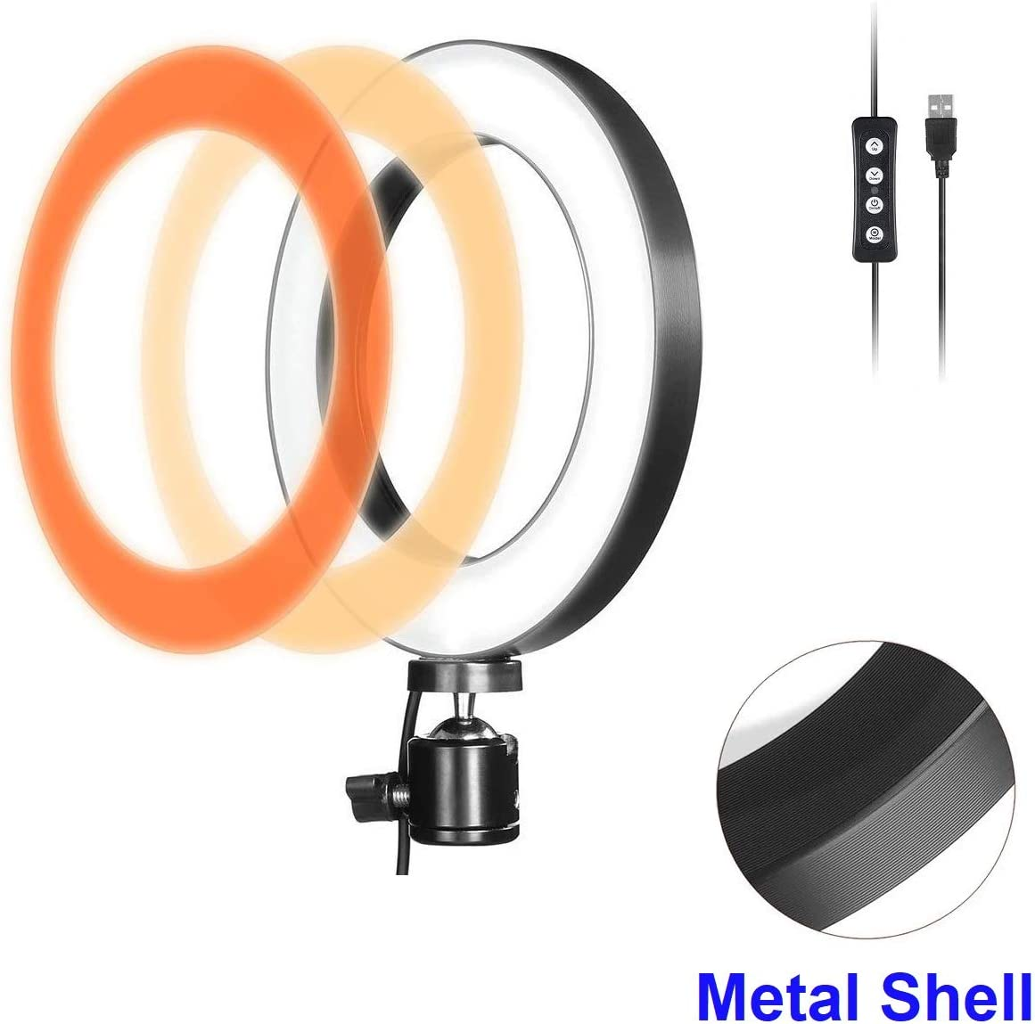 LED Ring Light 6 inches for YouTube Video Live Streaming Makeup Photography, Desktop USB LED Light with 3 Light Modes and 10 Brightness Level