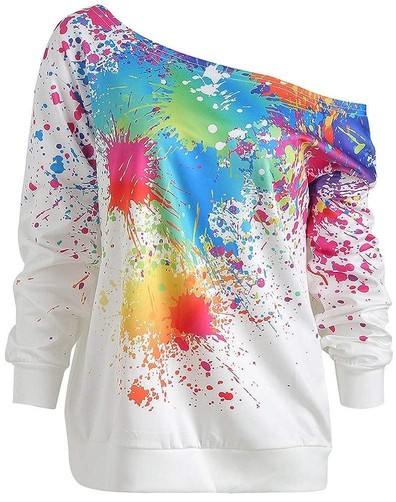 Obosoyo Womens T-Shirts Off Shoulder Long Sleeve Paint Splatter Print Sweatshirt Top Blouse Girls Hoodies