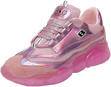 Dacawin_Women Sport Shoes Zapatillas de Andar con Plataforma para Mujer, Reflectantes, para Deportes al Aire Libre, con Cordones, protección para el Tobillo, Zapatillas para Correr: Amazon.es: Hogar