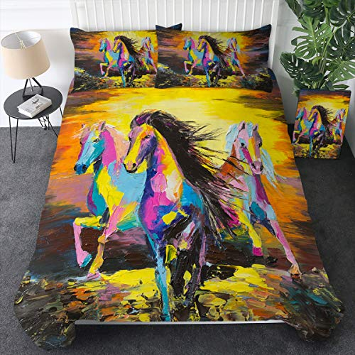 beautiful horses print bedding set