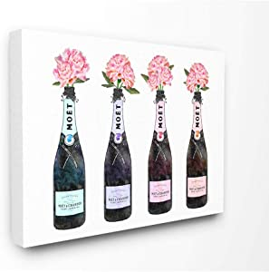 The Stupell Home Décor Collection Black Pink Purple and Blue Champagne Bottles with Peonies Stretched Canvas Wall Art, 24 x 30, Multi-Color