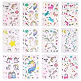 KUUQA 24 Sheets Unicorn Temporary Tattoos for Boys and Girls,82 Unicorn Designs, for Unicorn Party Supplies and Birthday Gift(12 Patterns Sheet)