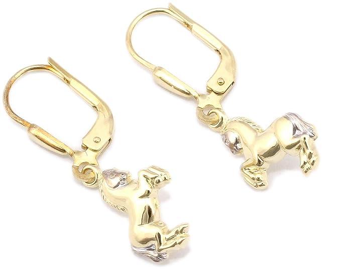 Kinder Ohrringe Ohrhänger Marienkäfer laufend 333 Gold Gelbgold 8kt Hänger NEU