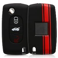 kwmobile Cover chiave auto Peugeot Citroen - Guscio protettivo coprichiave in morbido silicone TPU - Custodia per chiave Peugeot Citroen con 3 tasti