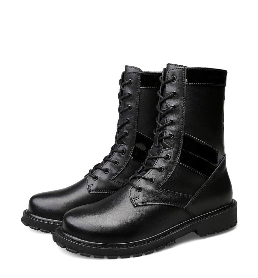 DANDANJIE Herren Kampfstiefel Herbst Winter Casual Stiefel Rutschfeste Stiefel Schwarz Hohe Tube Stiefel Outdoor Desert Stiefel