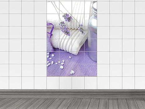 Piastrelle adesivo piastrelle quadro lavanda rami con accessori