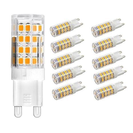 Vlio Bombillas LED G9 de 5 W, 10 unidades, 51 LED 2835 SMD,