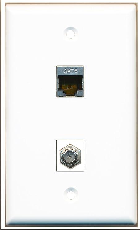 riteav - 1 x CAT6 blindado Ethernet y 1 x Puerto TV por cable coaxial placa de pared blanco: Amazon.es: Electrónica