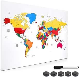 Navaris Tablero de Notas magnético - Pizarra con diseño de mapamundi Colorido - Pizarra magnética con Marcador Negro y 5 imanes: Amazon.es: Hogar