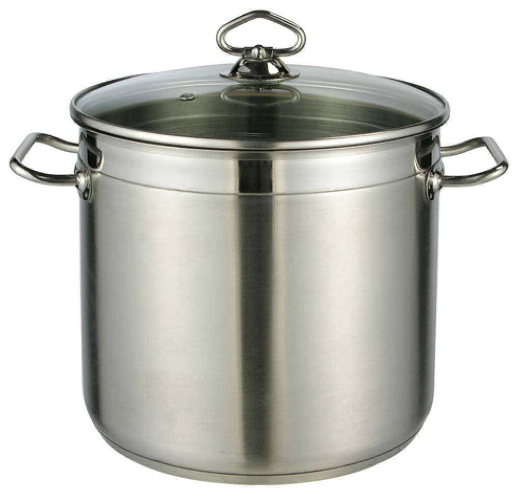 Large Deep Stainless Steel Cooking Stock Pot Casserole Glass Lid Induction Base MTS
