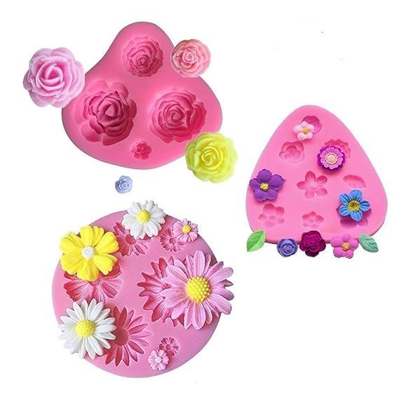 mciskin Blumen Kuchen Fondant Formen,Mini Blumen Silikon Formen,Rosen Blumen Form,Gänseblümchen Blumen Formen, für Jelly Suga