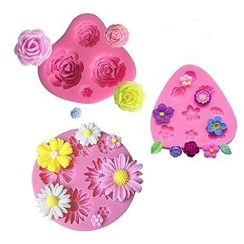 mciskin Moldes de fondant de pastel de flores,mini Moldes de Silicona de Flores,Molde de flores rosas,Moldes de flores,Decoración de pastel de chocolate ...