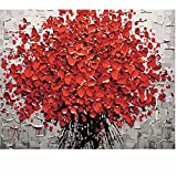 SUBERY DIY Oil Painting Paint by Numbers Kits for Adults Kids Beginner - Bright Red Flowers 16x20 inches (Frameless)
