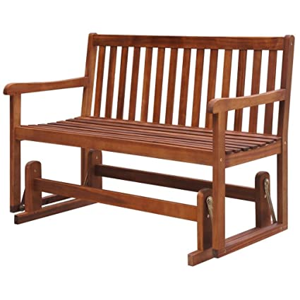 Amazon Com Outdoor Patio Wooden Glider Bench Porch Swing Chair