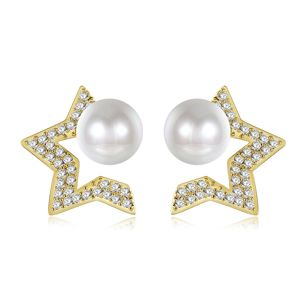 Star Pearl Earring Wedding Jewelry Birthday Gift For Women Wife