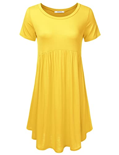 NINEXIS Womens Basic Short Sleeve Tunic Top & Dress (PLUS Size Available)