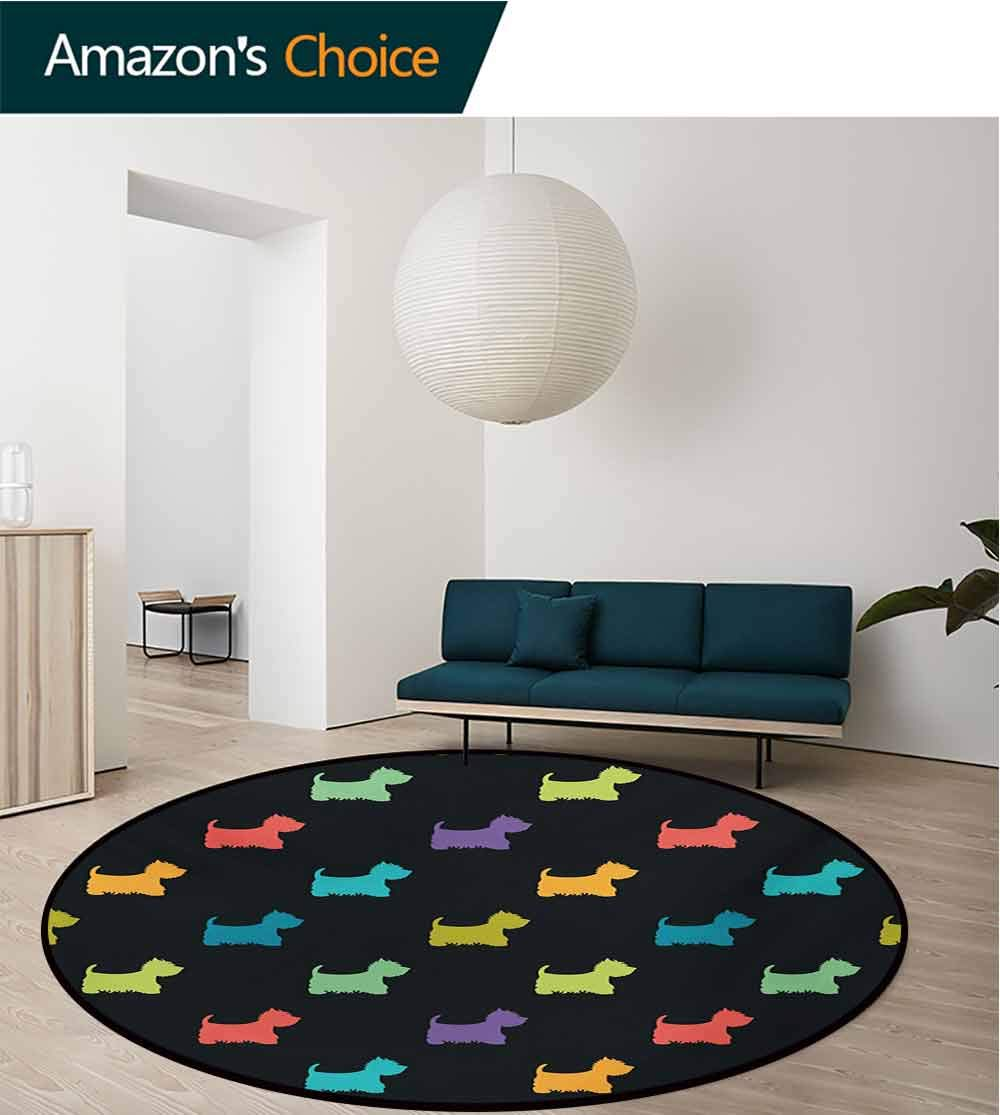 RUGSMAT Dog Lover Dining Room Home Bedroom Carpet Floor Mat,Colorful Dog Silhouettes West Highland Terriers Canine Cartoon Style Animal Fun Non Slip Rug,Diameter-71 Inch Multicolor by RUGSMAT (Image #2)