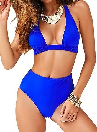 High Waist Swimsuit Women Plus Size Swimwear Flower Beach Bikini Set Monokini UK