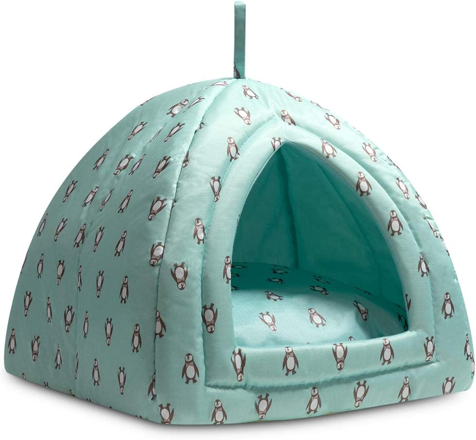 Hollypet Cooling Pet Bed for Cats and Small Dogs 15 x 15 x 15 inches 2 in 1 Foldable Comfortable Triangle Nest Tent House for Summer, Light Cyan