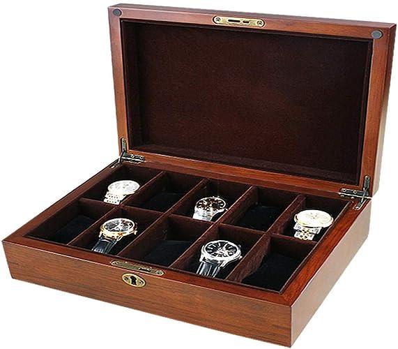 FIONAT Caja para Relojes Cajas para Joyas Regalo Hombre Mujer Viaje Caja De Almacenamiento De Almacenamiento De Pantalla Flip Retro De Madera Maciza 31 * 24 * 10 Cm: Amazon.es: Joyería