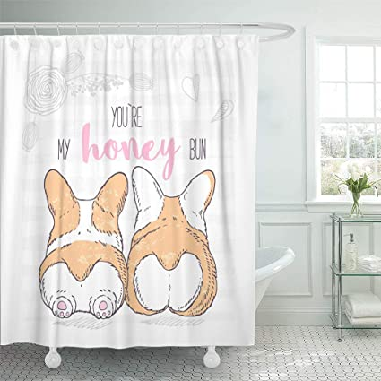 Emvency Shower Curtain White Butt Two Cute Dogs Lie Next To Each Other Welsh Corgi Pembroke Valentines Day With Floral Love Curtains Sets Hooks