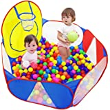 Eocolz Kids Ball Pit Large Pop Up Childrens Ball Pits Tent for Toddlers Playhouse Baby Crawl Playpen with Basketball…