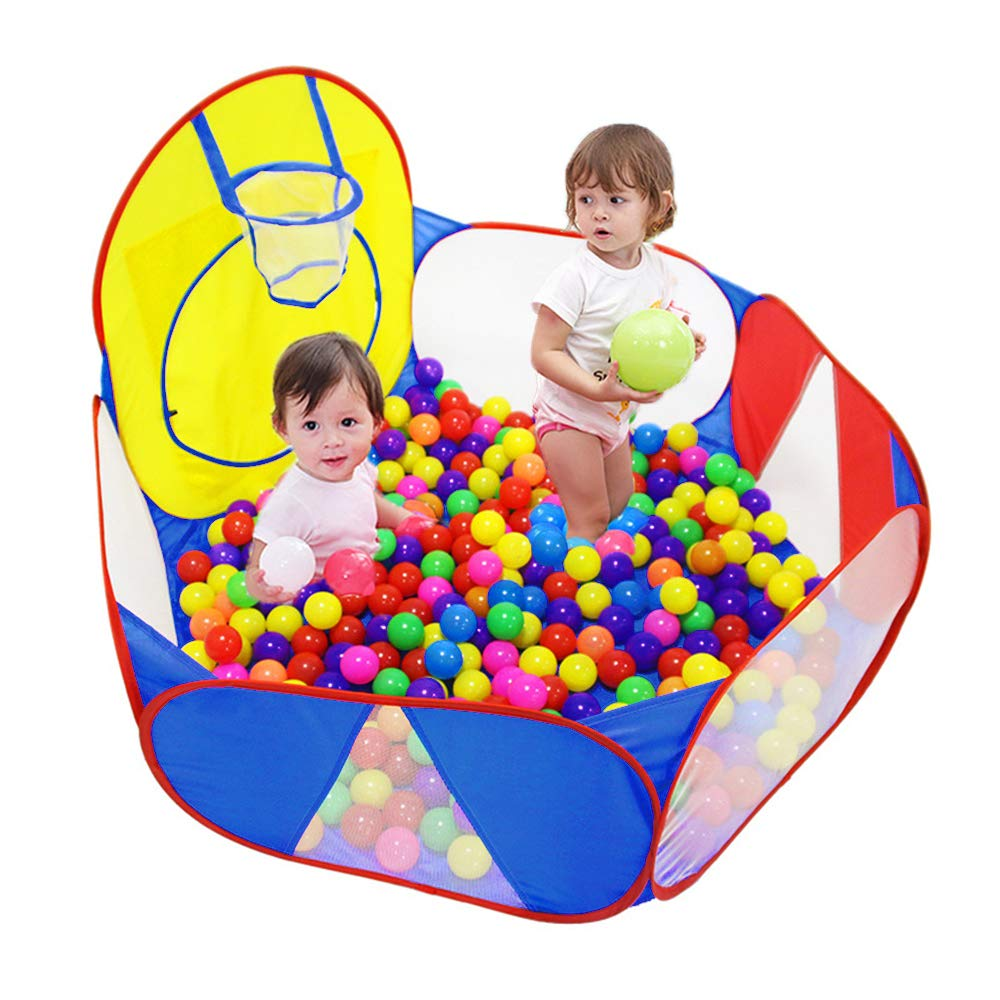 Eocol Kids Ball Pit Large Pop Up Childrens Ball Pits Tent for Toddlers Playhouse Baby Crawl Playpen with Basketball Hoop and Zipper Storage Bag, 4 Ft/120CM, Balls Not Included