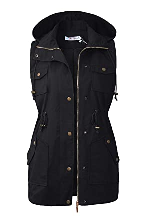 aac35b9c428 BBX Lephsnt Womens Anorak Vest Lightweight Drawstring Waist Military  Sleeveless Jacket