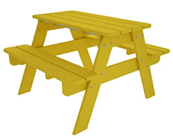POLYWOOD Outdoor Furniture Kid Picnic Table, Lemon Recycled Plastic  Materials