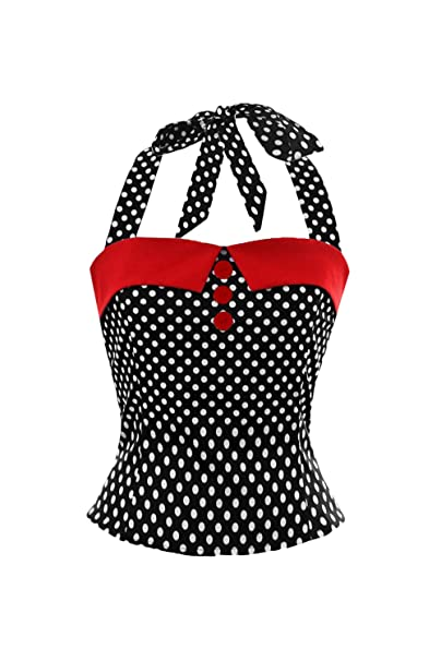 Damen 50er Jahre Tops Rockabilly Tshirt Polka Dots Vintage Bluse T Shirt Top